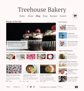 Home Page of baking website